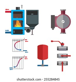 Solid fuel boiler and plumbing set. Some equipment for boiler room. Vector illustration.