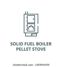 Solid fuel boiler,pellet stove vector line icon, linear concept, outline sign, symbol
