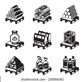 Solid fuel for domestic use - vector illustration