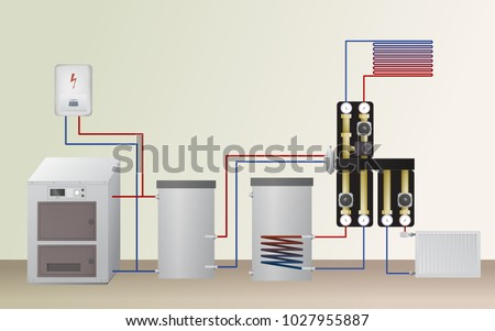 Solid Fuel Electric Boiler Heating System Stock Vector (Royalty Free ...