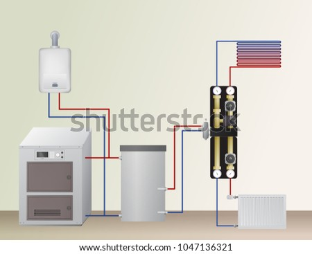 Solid Fuel Gas Boiler Heating System Stock Vector (Royalty Free ...