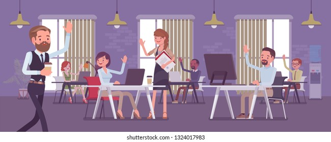 Solid and high performing team in the office. Group of people working together effectively for a common business goal, achieve good results, happy employees greet positive manager. Vector illustration