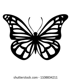 solid icon design of a blue morpho butterfly