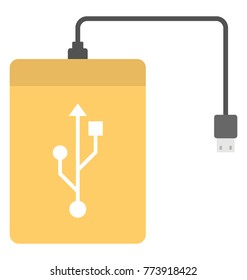 Solid icon design of power bank and data drive storage