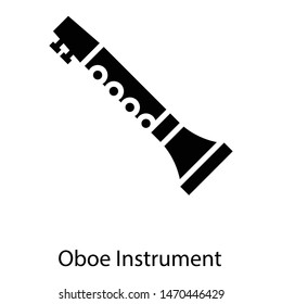 Solid icon of oboe instrument