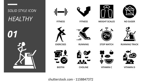 Solid icon pack for healthy, fitness, weight, scales, no, sugar, exercises, running, stop, watch, running track, biotin, choline, vitamin c, vitamin d.