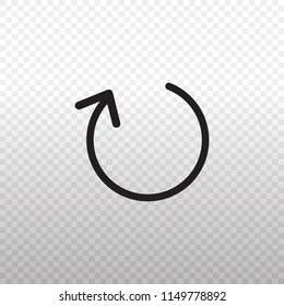 Solid Icon-Black refresh icon on transparent background, Vector illustration eps 10