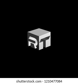 Solid Iconic Letter RT Cube Logo Design