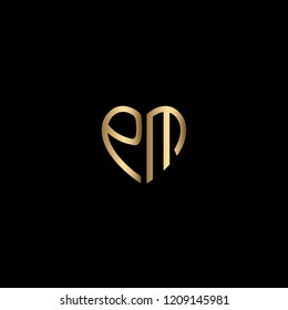 Solid Iconic and Minimal Heart Shaped Letter EM Logo Design For Your Business In Vector Format