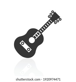 solid icons for Guitar and shadow,vector illustrations
