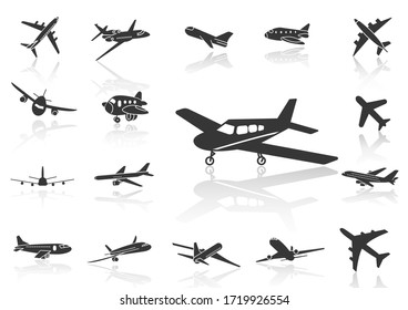 solid icons set,transportation,Airplane and shadow,vector illustrations