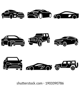 Solid icons set,transportation,Car side view,Car front,vector illustrations