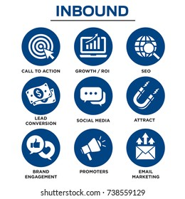 Solid inbound marketing vector icon set - CTAs, social media, magnet