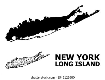 Solid and mesh vector map of Long Island. Wire frame 2D polygonal mesh in vector EPS format, geographic models for educational compositions. Illustrations are isolated on a white background.