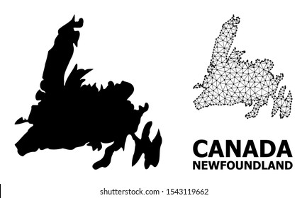 Solid and mesh vector map of Newfoundland Island. Wire frame flat polygonal mesh in vector format, geographic models for patriotic illustrations. Illustrations are isolated on a white background.