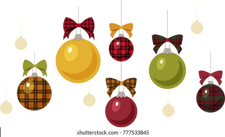 Solid and Plaid Christmas Ornaments with Bows