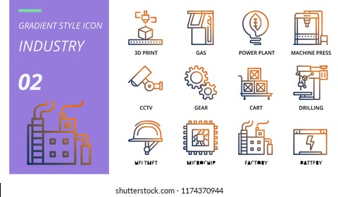 Solid style icon pack for industry, 3d print, gas, power plant, caching press, cctv, gear, cart, drilling, helmet, microchip, factory, battery