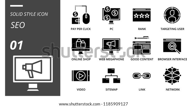 Solid Style Icon Pack Seo Pay Stock Vector (Royalty Free