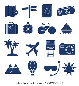 solid Tour and travel icon set vector illustration