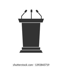 Solid Tribune or Podium silhouette Icon for your design. Vector illustration.