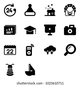 Solid vector icon set - 24 hours vector, christmas hat, house, wreath, statistics report, graduate, presentation board, camera, calendar, music player, cloud exchange data, magnifier, pyramid toy