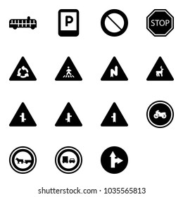 Solid vector icon set - airport bus vector, parking sign, prohibition road, stop, round motion, pedestrian, abrupt turn right, wild animals, intersection, no moto, cart horse, truck overtake