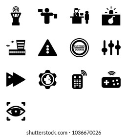 Solid vector icon set - airport tower vector, traffic controller, passport control, terrorism, building, light road sign, customs, settings, fast forward, gear globe, remote, joystick wireless