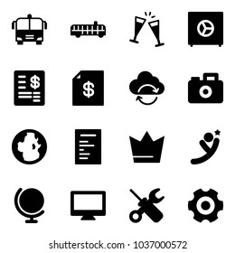 Solid vector icon set - airport bus vector, wine glasses, safe, account statement, refresh cloud, camera, globe, document, crown, flying man, monitor, wrench screwdriver, gear