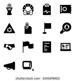 Solid vector icon set - airport tower vector, christmas wreath, pulse clipboard, safe, round motion road sign, attachment, flag, head hunter, agreement, document, statistics monitor, speaker horn