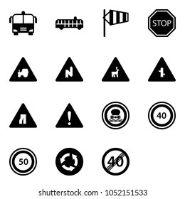 Solid vector icon set - airport bus vector, side wind, stop road sign, tractor way, abrupt turn right, wild animals, intersection, narrows, attention, no dangerous cargo, speed limit 40, 50, circle