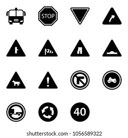 Solid vector icon set - airport bus vector, stop road sign, giving way, turn right, intersection, side wind, narrows, artificial unevenness, cow, attention, no moto, trailer, circle