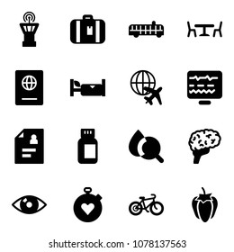 Solid vector icon set - airport tower vector, suitcase, bus, cafe, passport, hotel, plane globe, diagnostic monitor, patient card, pills bottle, blood test, brain, eye, stopwatch heart, bike