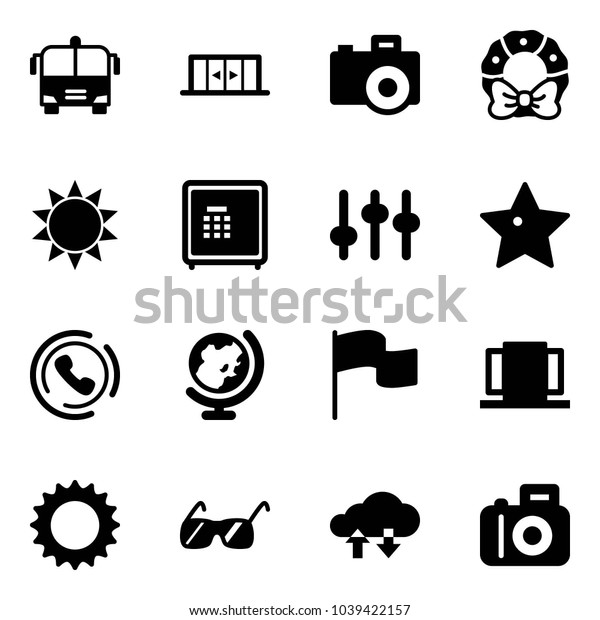 Solid vector icon set - airport bus vector, automatic doors, camera, christmas wreath, sun, safe, settings, star, phone horn, globe, flag, sunglasses, cloud exchange data