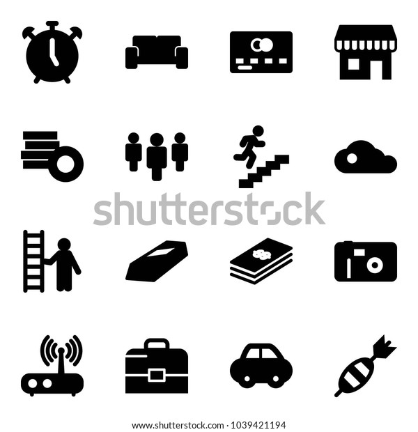 Solid vector icon set - alarm clock vector, vip waiting area, credit card, duty free, coin, group, career, cloud, opportunity, gold, dollar, photo, wi fi router, case, car, dart