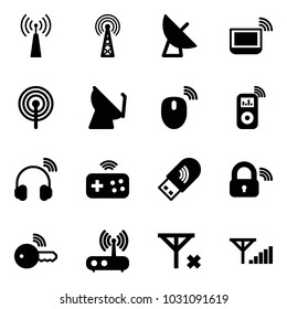 Solid vector icon set - antenna vector, satellite, notebook wi fi, mouse wireless, music player, headphones, joystick, usb, lock, key, router, no signal, fine