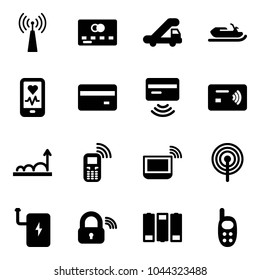 Solid vector icon set - antenna vector, credit card, trap truck, snowmobile, mobile heart monitor, tap pay, growth, phone, notebook wi fi, power bank, wireless lock, battery, toy
