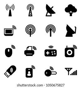 Solid vector icon set - antenna vector, satellite, upload cloud, notebook wi fi, mouse wireless, printer, joystick, speaker, usb, identity card, key, fine signal