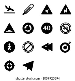 Solid vector icon set - arrival vector, thermometer, airport road sign, abrupt turn right, artificial unevenness, circle, minimal speed limit, end, pedestrian way, no parking, fast backward, target