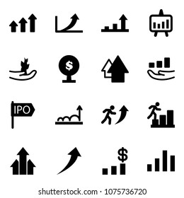 Solid vector icon set - arrows up vector, growth arrow, presentation chart, hand sproute, money tree, ipo, career, dollar