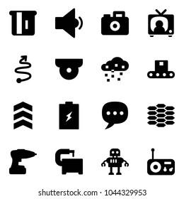 Solid vector icon set - atm vector, low volume, camera, tv news, trip, surveillance, snow, conveyor, chevron, battery, chat, carbon, drill, machine tool, robot, radio