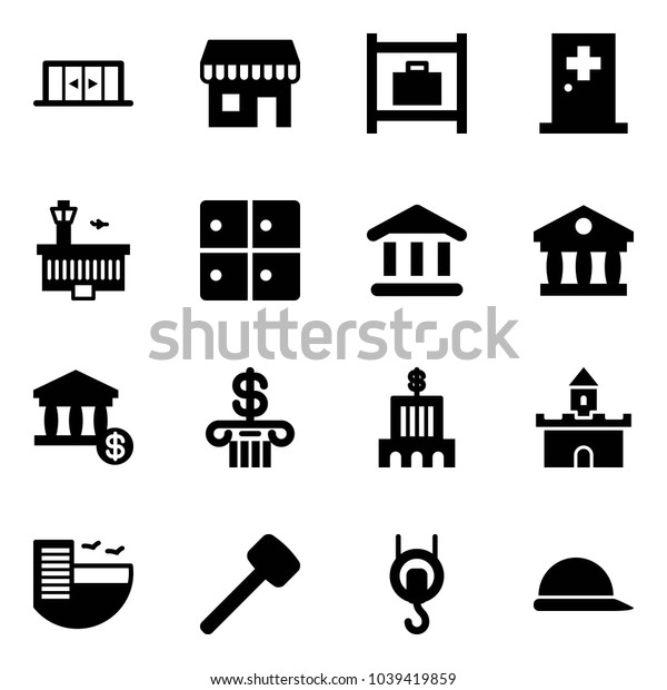 Solid vector icon set - automatic doors vector, duty free, baggage room, first aid, airport building, bank, account, sand fort, hotel, rubber hammer, winch, construction helmet
