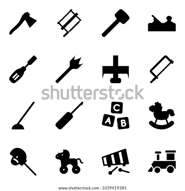 Solid vector icon set - axe vector, bucksaw, rubber hammer, jointer, chisel, wood drill, milling cutter, metal hacksaw, hoe, awl, abc cube, rocking horse, stick toy, wheel, xylophone, train