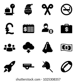 Solid vector icon set - baggage scales vector, santa claus, stick, no smoking sign, pound, finance calendar, account, money case, group, download cloud, bell, rocket, trailer, toy unicorn, football