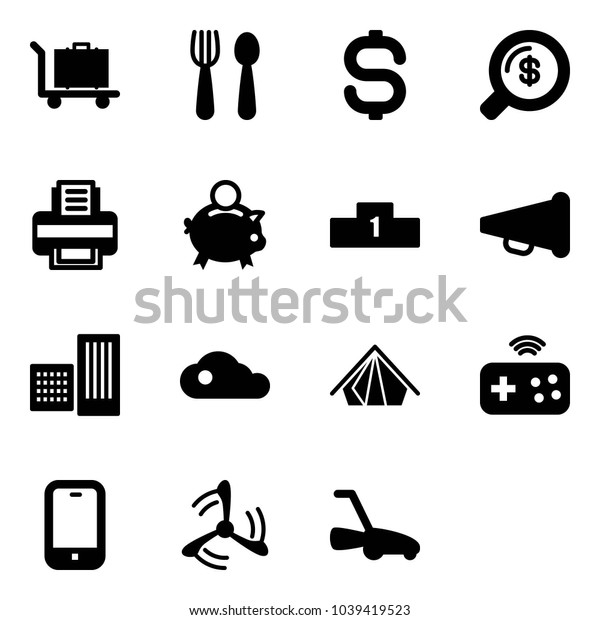 Solid vector icon set - baggage vector, spoon and fork, dollar sign, money search, printer, piggy bank, pedestal, speaker horn, building, cloud, tent, joystick wireless, mobile phone, wind mill