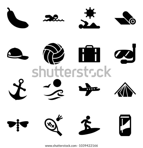 Solid vector icon set - banana vector, swimming, reading, mat, cap, volleyball, suitcase, diving, anchor, waves, plane, tent, dragonfly, badminton, surfing, drink