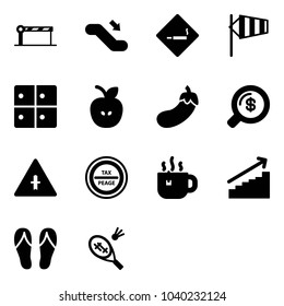Solid vector icon set - barrier vector, escalator down, smoking area sign, side wind, baggage room, apple, eggplant, money search, intersection road, tax peage, hot tea, growth, flip flops