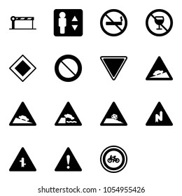Solid vector icon set - barrier vector, elevator, no smoking sign, alcohol, main road, prohibition, giving way, climb, steep descent, embankment, roadside, abrupt turn right, intersection, attention