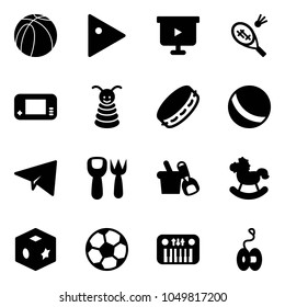 Solid vector icon set - basketball ball vector, play, presentation board, badminton, game console, pyramid toy, tambourine, paper plane, shovel fork, bucket, rocking horse, cube, soccer, piano, yoyo