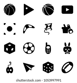 Solid vector icon set - basketball ball vector, play, playback, record button, boomerang, kite, shovel bucket, cube toy, soccer, phone, rabbit, yoyo, paper plane, bones, football