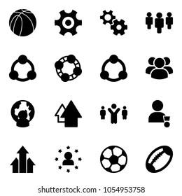 Solid vector icon set - basketball ball vector, gear, group, social, friends, community, man globe, arrow up, team leader, winner, arrows, star, soccer, football